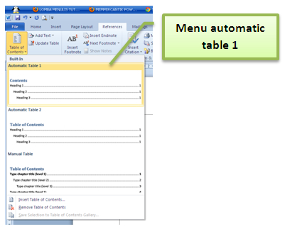 automatic table 1